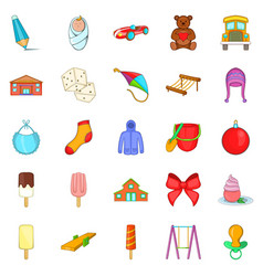 small children icons set cartoon style vector image vector image