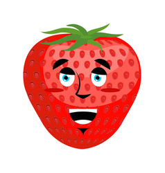 Strawberry happy emoji red berry merryl emotion vector