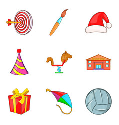 Toy store icons set cartoon style vector