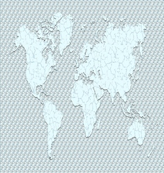 World map cracked clay ground vector