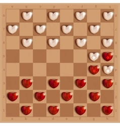 Checkers game with hearts detailed and relistic vector