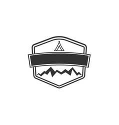 Blank badge form with mountains good for vector