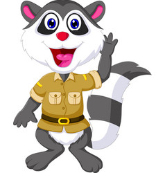 funny raccoon cartoon waving vector image