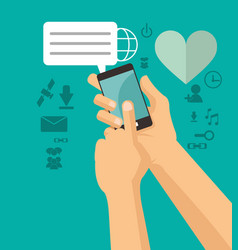 Hands holds cellphone sending message chating vector