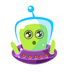 Naive and surprised green alien in a flying saucer vector