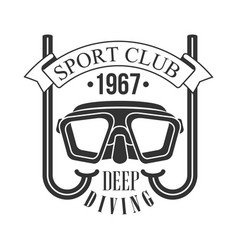 Sport club deep diving 1967 vintage logo black vector