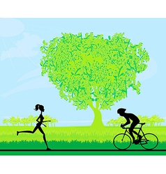 Silhouette of marathon runner and cyclist race in vector