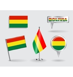 Set of bolivian pin icon and map pointer flags vector