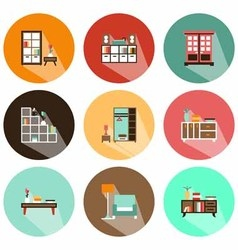 Icons shadow cabinets vector