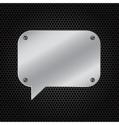 Silver speech bubble on dark background vector