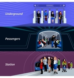 Subway passengers flat banners set vector