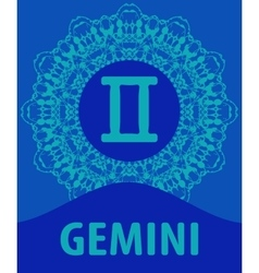 Gemini twins zodiac icon with mandala print vector