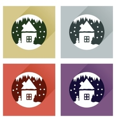 Set flat web icons with long shadow house snow vector