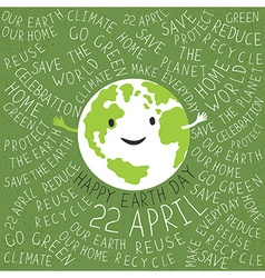 Happy earth day poster text around the earth vector