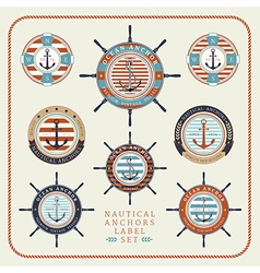 Nautical anchors label set 03 vector