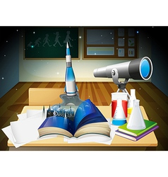 A laboratory room with a book and laboratory vector image