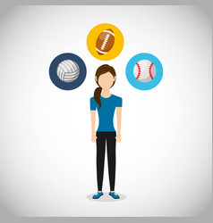 Athlete avatar with sports equipment vector