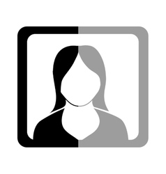 Avatar woman inside black and grey frame vector