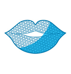Blue silhouette of lips with dots vector