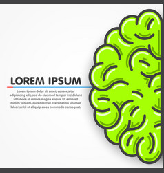 Cartoon green left part of human brain clean vector