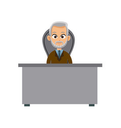 Character doctor sitting desk and chair vector