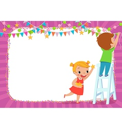 Children decorating for a party vector