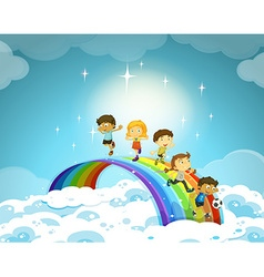 Children standing over the rainbow vector image vector image