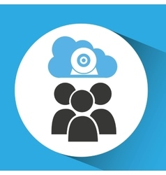 cloud connection social media group camera web vector image