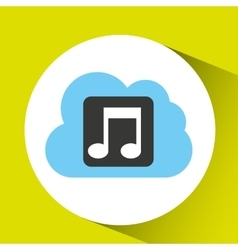 Cloud music download connected design vector