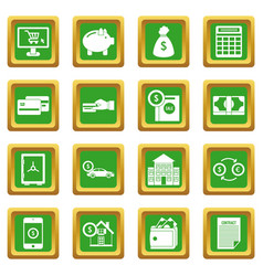 Credit icons set green vector