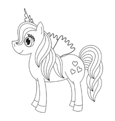 Fairy foal with wings coloring book page for vector image vector image