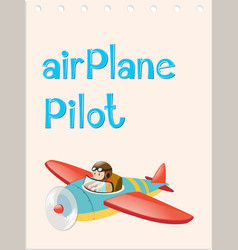 Flashcard with pilot and airplane vector