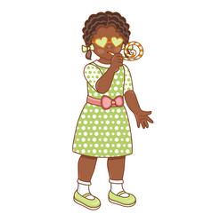 Flat african black girl whistling vector