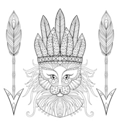 Fluffy cat with wa rbonnet arrows in zentangle vector