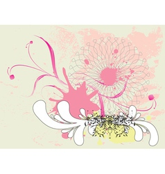 Grunge pink floral ornament vector image vector image