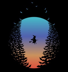 Halloween moon with witch and bats vector image