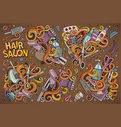 hand drawn doodle cartoon set of hair salon vector image vector image