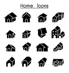 home house residential apartment icon set vector image vector image