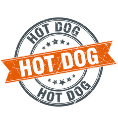 Hot dog round orange grungy vintage isolated stamp vector