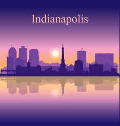 Indianapolis city silhouette on sunset background vector