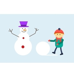 Kid making snowman vector