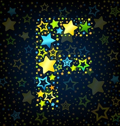 Letter f cartoon star colored vector