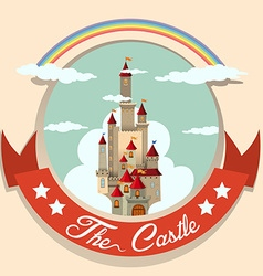 Logo design with castle and rainbow vector