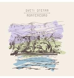 Original sepia sketch drawing of sveti stefan vector
