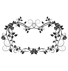 Ornamental frame with rose flowers vector image vector image