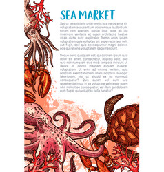 poster for seafood fishing market vector image vector image