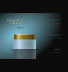 Premium cream blue gold packaging for cosmetics vector