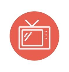 Retro television thin line icon vector