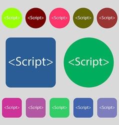 Script sign icon javascript code symbol 12 colored vector