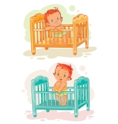 Set of babies are in their beds vector